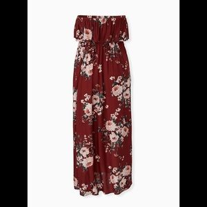 Torrid Brick Red Floral Maxi Dress Size 1 NWT HTF
